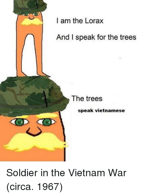 vietnam war: I am the Lorax  And I speak for the trees  The trees  speak vietnamese Soldier in the Vietnam War (circa. 1967)
