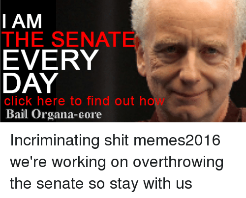 Click, Memes, and Shit: I AM  THE SENATE  EVERY  DAY  click here to find out ho  Bail Organa-core Incriminating shit memes2016 we're working on overthrowing the senate so stay with us