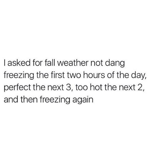 Fall: I asked for fall weather not dang  freezing the first two hours of the day,  perfect the next 3, too hot the next 2,  and then freezing again