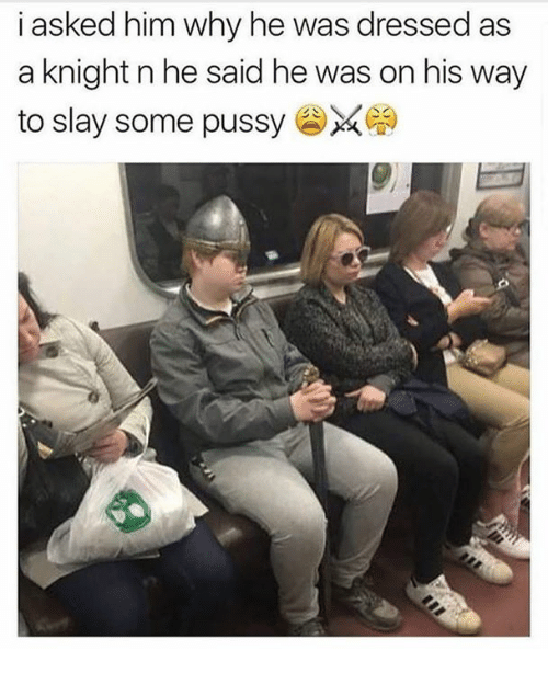 Memes, Pussy, and 🤖: i asked him why he was dressed as  a knight n he said he was on his way  to slay some pussy ¼