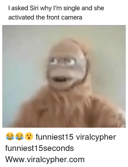 Funny, Siri, and Camera: I asked Siri why I'm single and she  activated the front camera 😂😂😮 funniest15 viralcypher funniest15seconds Www.viralcypher.com