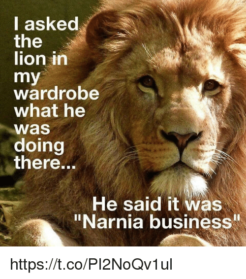 """Business, Lion, and Narnia: I asked  the  lion in  my  wardrobe  what he  Was  doing  there...  He said it was  """"Narnia business https://t.co/PI2NoQv1ul"""