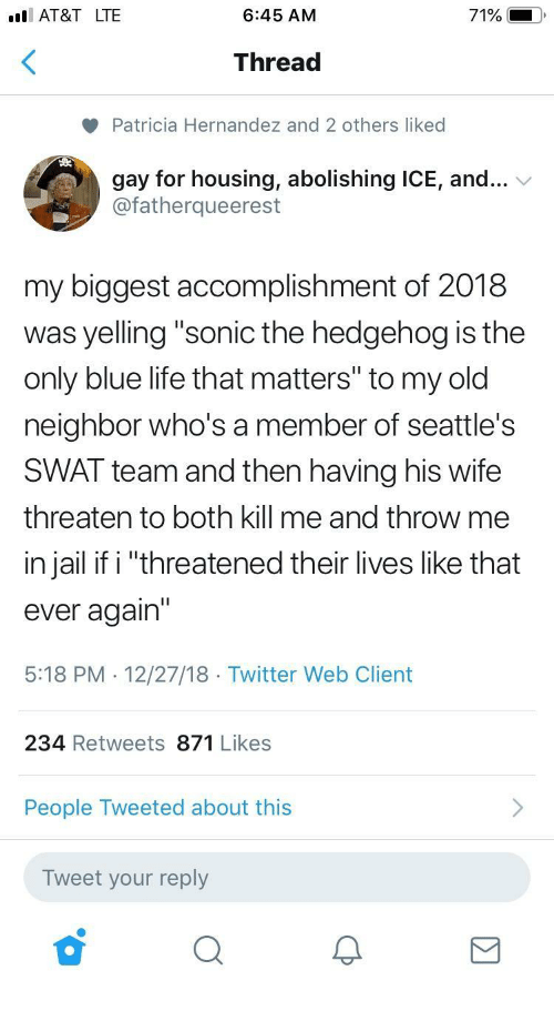 """patricia: I AT&T LTE  6:45 AM  71%  Thread  Patricia Hernandez and 2 others liked  gay for housing, abolishing ICE, and...  @fatherqueerest  my biggest accomplishment of 2018  was yelling """"sonic the hedgehog is the  only blue life that matters"""" to my old  neighbor who's a member of seattle's  SWAT team and then having his wife  threaten to both kill me and throw me  in jail if i """"threatened their lives like that  ever again'""""  5:18 PM . 12/27/18 Twitter Web Client  234 Retweets 871 Likes  People Tweeted about this  Tweet your reply"""