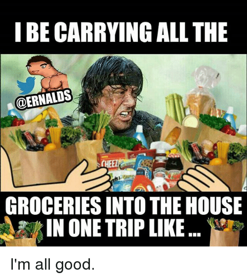 Gym: I BE CARRYING ALL THE  @ERNALDS  GROCERIES INTO THE HOUSE  IN ONE TRIP LIKE I'm all good.