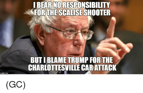 Memes, Bear, and Trump: I BEAR NO RESPONSIBILITY  FOR THE SCALISE SHOOTER  BUT I BLAME TRUMP FOR THE  CHARLOTTESVILLE CAR ATTACK (GC)