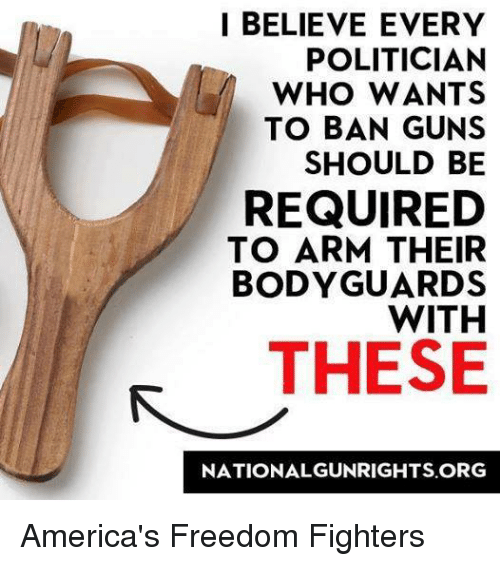 America Freedom: I BELIEVE EVERY  POLITICIAN  WHO WANTS  TO BAN GUNS  SHOULD BE  REQUIRED  TO ARM THEIR  BODYGUARD  WITH  THESE  NATIONAL GUNRIGHTS ORG America's Freedom Fighters