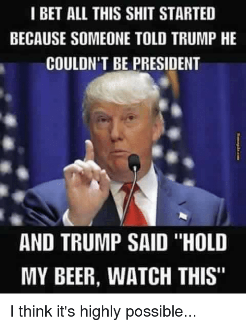 "Hold My Beer Watch This: I BET ALL THIS SHIT STARTED  BECAUSE SOMEONE TOLD TRUMP HE  COULDN'T BE PRESIDENT  AND TRUMP SAID ""HOLD  MY BEER, WATCH THIS"" I think it's highly possible..."