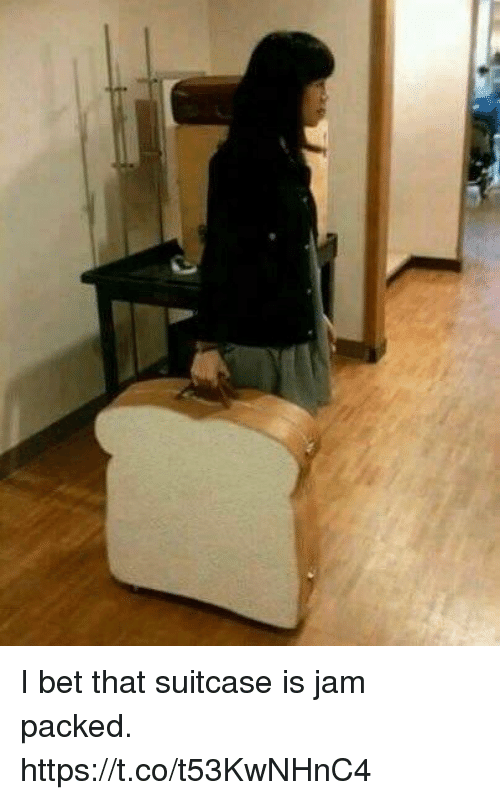 I Bet, Girl Memes, and Bet: I bet that suitcase is jam packed. https://t.co/t53KwNHnC4