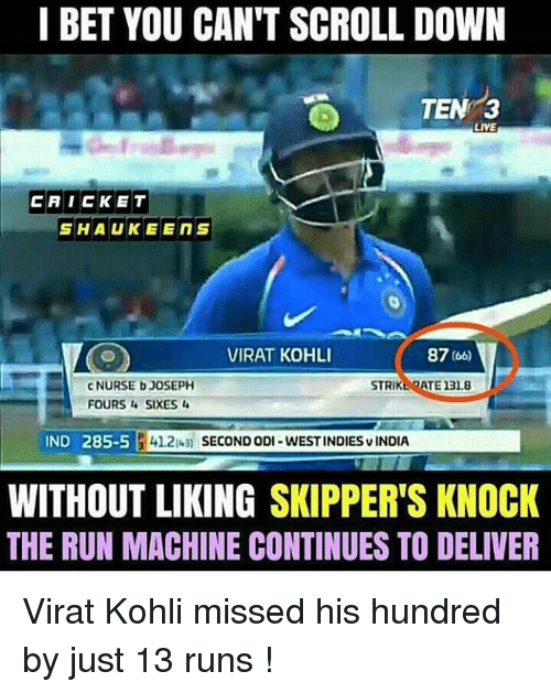 indded: I BET YOU CAN'T SCROLL DOWN  TEN  LIVE  CAICKET  SHAUKEENS  VIRAT KOHLI  87 (6o)  c NURSE bJOSEPH  FOURS SIXES  STRIKEOATE 13L8  IND 285-5  412u SECONDoDI-WESTINDIESvINDIA  WITHOUT LIKING SKIPPER'S KNOCK  THE RUN MACHINE CONTINUES TO DELIVER Virat Kohli missed his hundred by just 13 runs !