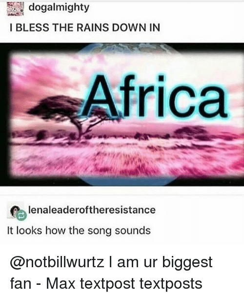 Africa, Memes, and 🤖: I BLESS THE RAINS DOWN IN  Africa  lenaleaderoftheresistance  It looks how the song sounds @notbillwurtz I am ur biggest fan - Max textpost textposts