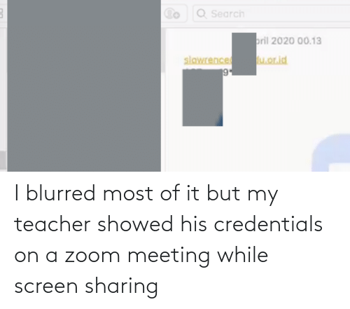 meeting: I blurred most of it but my teacher showed his credentials on a zoom meeting while screen sharing