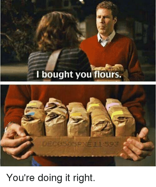 Youre Doing It Right: I bought you flours. You're doing it right.