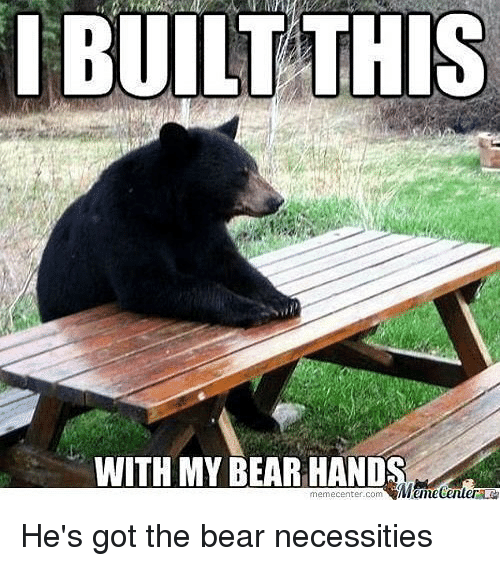 Memes, Bear, and 🤖: I BUILT THIS  WITH MY BEAR HAND  memecenter com He's got the bear necessities