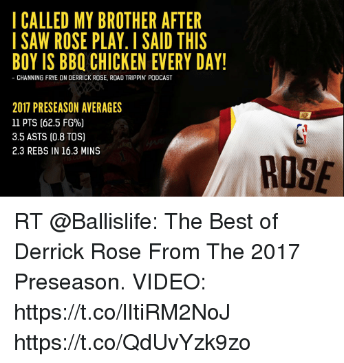 Derrick Rose, Memes, and Best: I CALLED MY BROTHER AFTER  ISAW ROSE PLAY. I SAID THIS  BOY IS BBQ CHICKEN EVERY DAY!  - CHANNING FRYE ON DERRICK ROSE, ROAD TRIPPIN' PODCAST  2017 PRESEASON AVERAGES  11 PTS (62.5 FG%)  3.5 ASTS (0.8 TOS)  2.3 REBS IN 16.3 MINS  RUSE RT @Ballislife: The Best of Derrick Rose From The 2017 Preseason.   VIDEO: https://t.co/lItiRM2NoJ https://t.co/QdUvYzk9zo