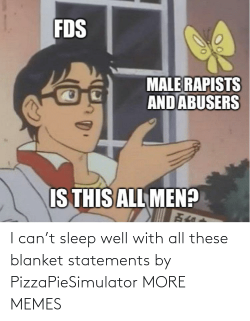 blanket: I can't sleep well with all these blanket statements by PizzaPieSimulator MORE MEMES
