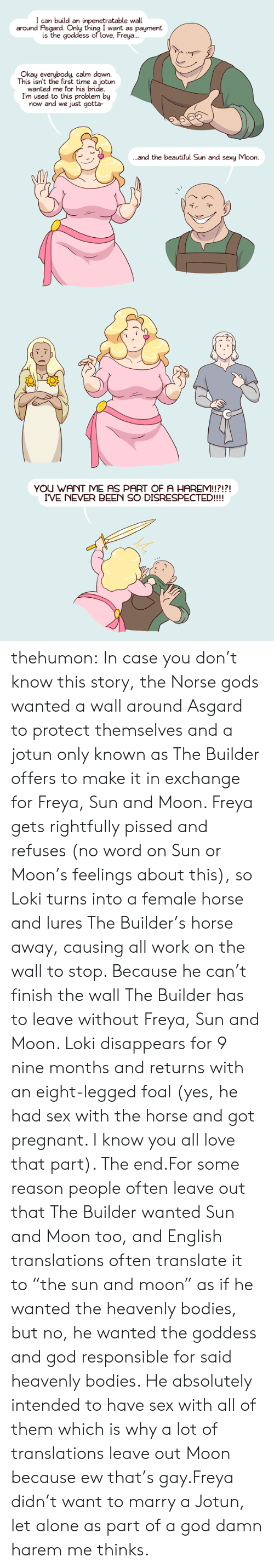 """freya: I can build an inpenetratable wall  around Asgard. Only thing I want as payment  is the goddess of love, Freya..  Okay everybody, calm down.  This isn't the first time a jotun  wanted me for his bride  I'm used to this problem by  now and we just gotta-  and the beautiful Sun and sexy Moon.   YOU WANT ME AS PART OF A HAREM!!?!?!  I'VE NEVER BEEN SO DISRESPECTED!!!! thehumon:  In case you don't know this story, the Norse gods wanted a wall around Asgard to protect themselves and a jotun only known as The Builder offers to make it in exchange for Freya, Sun and Moon. Freya gets rightfully pissed and refuses (no word on Sun or Moon's feelings about this), so Loki turns into a female horse and lures The Builder's horse away, causing all work on the wall to stop. Because he can't finish the wall The Builder has to leave without Freya, Sun and Moon. Loki disappears for 9 nine months and returns with an eight-legged foal (yes, he had sex with the horse and got pregnant. I know you all love that part). The end.For some reason people often leave out that The Builder wanted Sun and Moon too, and English translations often translate it to """"the sun and moon"""" as if he wanted the heavenly bodies, but no, he wanted the goddess and god responsible for said heavenly bodies. He absolutely intended to have sex with all of them which is why a lot of translations leave out Moon because ew that's gay.Freya didn't want to marry a Jotun, let alone as part of a god damn harem me thinks."""