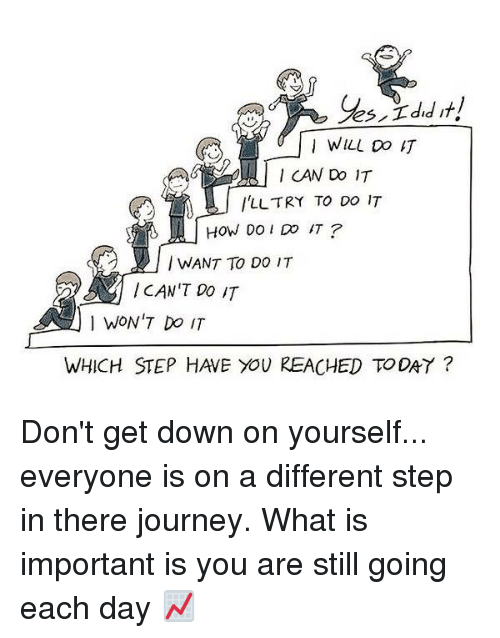 Memes, 🤖, and Step: I CAN Do IT  l'LL TRY TO DO IT  HOW DO DO IT  WANT TO DO IT  CAN'T DO IT  1 WON'T DO IT  WHICH STEP HAVE YOU REACHED TODAY Don't get down on yourself... everyone is on a different step in there journey. What is important is you are still going each day 📈