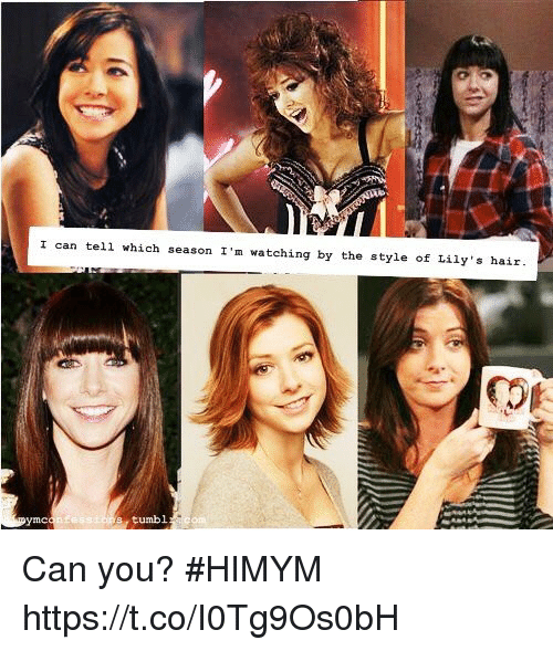 Memes, Hair, and 🤖: I can tell which season I'm watching by the style of Lily s hair  tumbl Can you? #HIMYM https://t.co/I0Tg9Os0bH