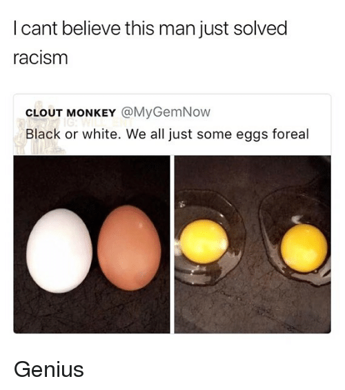 Memes, Racism, and Black: I cant believe this man just solved  racism  CLOUT MONKEY @MyGemNow  Black or white. We all just some eggs foreal Genius