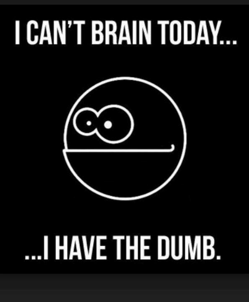 I Have The Dumb: I CAN'T BRAIN TODAY  I HAVE THE DUMB