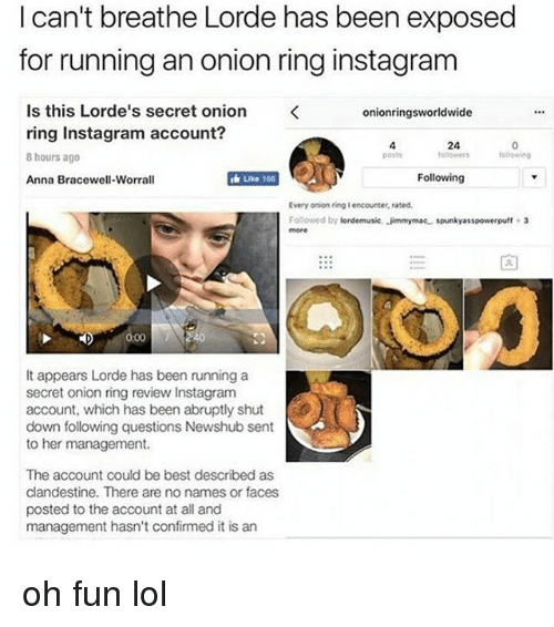 Onion Ring: I can't breathe Lorde has been exposed  for running an onion ring instagram  Is this Lorde's secret onion  onionringsworldwide  ring Instagram account?  8 hours ago  Like 166  Following  Anna Bracewell-Worrall  Every onion ring Iencounter, rated  Followed by lordemusic, Jimmymac spunkyasspowerpuff 3  t appears Lorde has been running a  secret onion ring review Instagram  account, which has been abruptly shut  down following questions Newshub sent  to her management.  The account could be best described as  clandestine. There are no names or faces  posted to the account at all and  management hasn't confirmed it is an oh fun lol