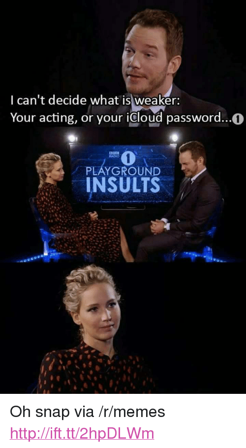"""Icloud: I can't decide what is weaker:  Your acting, or your icloud password..0  RADIO  PLAYGROUND  INSULTS <p>Oh snap via /r/memes <a href=""""http://ift.tt/2hpDLWm"""">http://ift.tt/2hpDLWm</a></p>"""