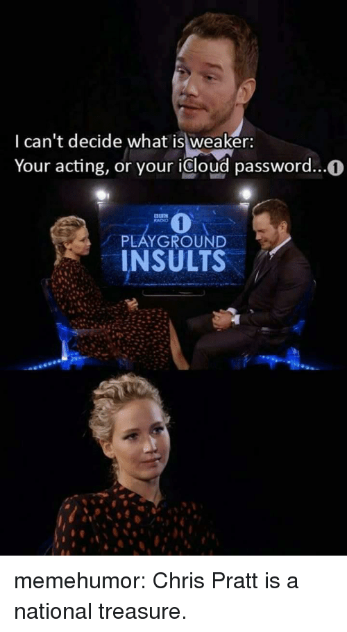 Icloud: I can't decide what is weaker:  Your acting, or your icloud password...0  RADIO  PLAYGROUND  INSULTS memehumor:  Chris Pratt is a national treasure.