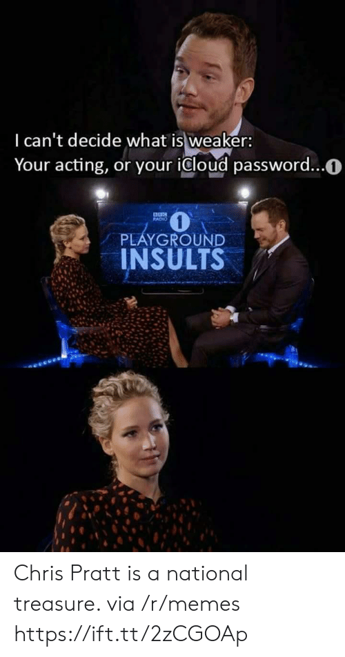 Icloud: I can't decide what is weaker:  Your acting, or your icloud password...0  RADIO  PLAYGROUND  INSULTS Chris Pratt is a national treasure. via /r/memes https://ift.tt/2zCGOAp