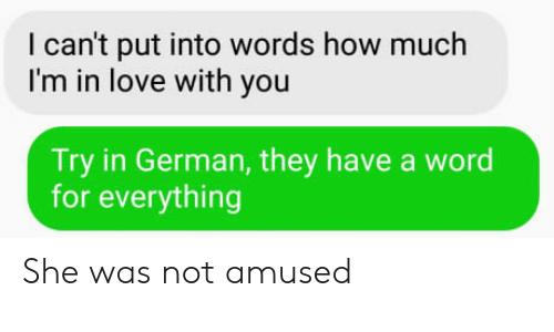 Not Amused: I can't put into words how much  I'm in love with you  Try in German, they have a word  for everything She was not amused