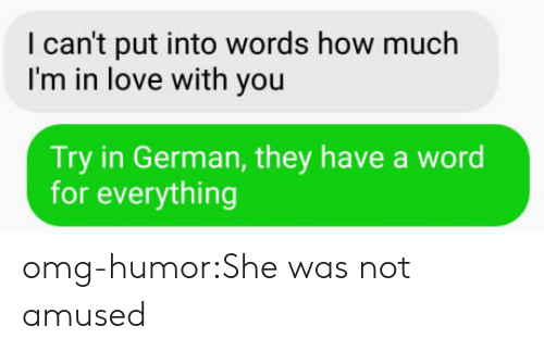 Not Amused: I can't put into words how much  I'm in love with you  Try in German, they have a word  for everything omg-humor:She was not amused