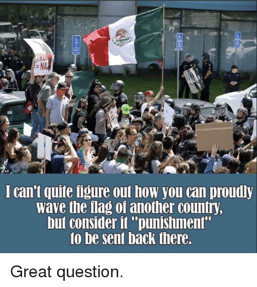 """Quite, Back, and How: I can't quite ligure out how you can proudly  wave the flag of another country  but consider it """"punishment""""  to be sent back there. Great question."""