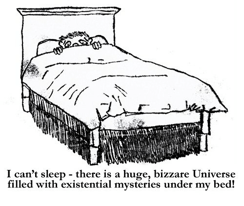 Sleep, Universe, and Huge: I can't sleep - there is a huge, bizzare Universe  filled with existential mysteries under my bed!