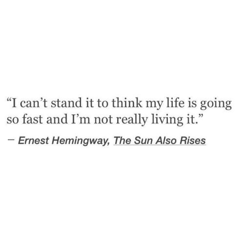 """Ernest: """"I can't stand it to think my life is going  so fast and I'm not really living it.""""  Ernest Hemingway, The Sun Also Rises"""