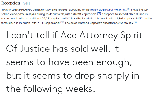 The Following: I can't tell if Ace Attorney Spirit Of Justice has sold well. It seems to have been enough, but it seems to drop sharply in the following weeks.