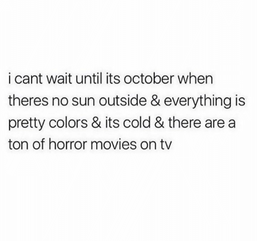 it's cold: i cant wait until its october when  theres no sun outside & everything is  pretty colors & its cold & there are a  ton of horror movies on tv