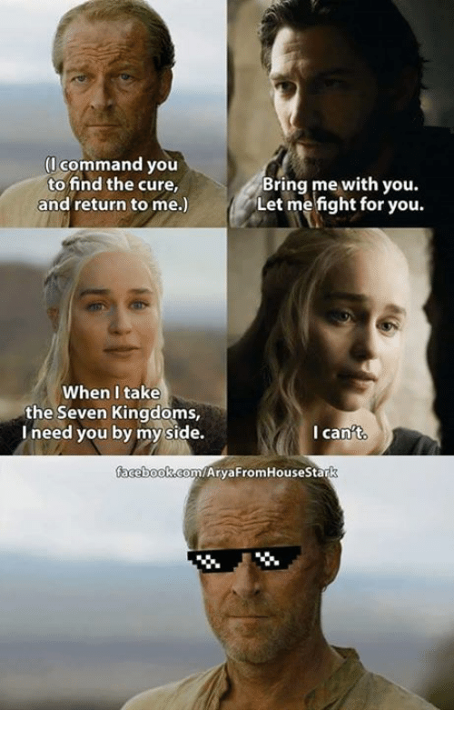 Memes, Seven Kingdoms, and 🤖: (I command you  to find the cure,  Bring me with you.  Let me fight for you.  and return to me.)  When I take  the Seven Kingdoms,  I need you by my side.  I can't  facebook com/AryaFromHouseStark