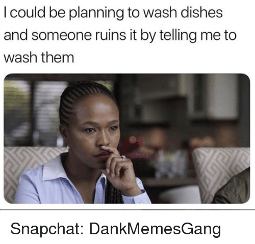 Memes, Snapchat, and 🤖: I could be planning to wash dishes  and someone ruins it by telling me to  wash them Snapchat: DankMemesGang