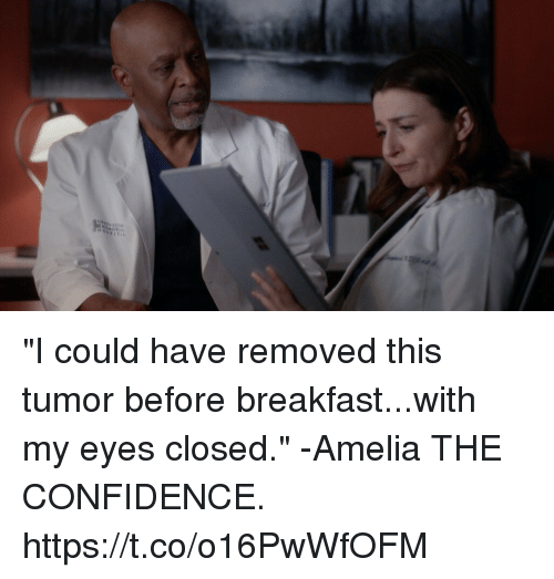 "Confidence, Memes, and Breakfast: ""I could have removed this tumor before breakfast...with my eyes closed."" -Amelia  THE CONFIDENCE. https://t.co/o16PwWfOFM"
