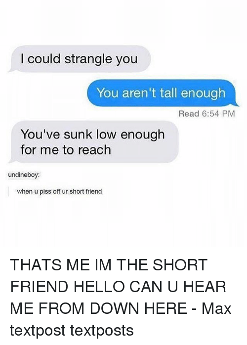 Hello, Memes, and 🤖: I could strangle you  You aren't tall enough  Read 6:54 PM  You've sunk low enough  for me to reach  undineboy:  when u piss off ur short friend THATS ME IM THE SHORT FRIEND HELLO CAN U HEAR ME FROM DOWN HERE - Max textpost textposts