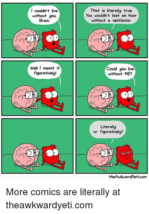 figuratively: I couldn't live  without you,  Brain.  That is literally true.  You wouldn't last an hour  without a ventilator.  Well I meant it  figuratively!  Could you live  without ME?  川  川  Literally  or figuratively?  theAwkwardYeti.com More comics are literally at theawkwardyeti.com