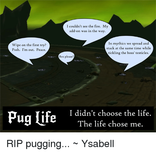 Mythic: I couldn't see the fire. My  add-on was in the way.  In mythics we read and  Wipe on the first try?  stack at the same time while  Pssh. I'm out. Peace  tickling the boss' testicles.  Rez please?  Pug life  I didn't choose the life.  The life chose me. RIP pugging... ~ Ysabell