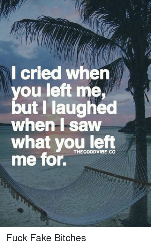 good vibe: I cried when  you left me,  but I laughed  when saw  what you GOOD VIBE CO  left  THE me for. Fuck Fake Bitches