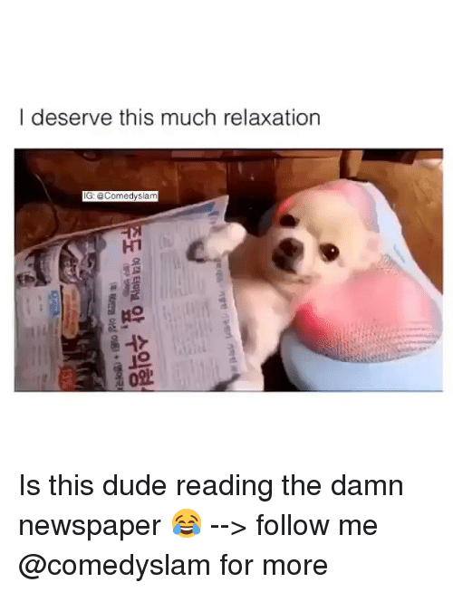 Funny, The Damned, and Newspaper: I deserve this much relaxation  IG: @Comedy slam Is this dude reading the damn newspaper 😂 --> follow me @comedyslam for more
