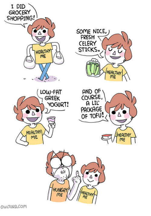 Fresh, Hungry, and Memes: I DID  GROCERY  SHOPPING!  SOME NICE,  FRESH  CELERY  STICKS  HEALTHY  ME  HEALTHY  ME  LOW-FAT  GREEK  AND OF  COURSE,  A LTL  PACKAGE  LLE  OF TOFU A  HEALTHY  ME  HEALTHY  ME  4 0  HUNGRY  HEALT  ME  OWLTURD.Com