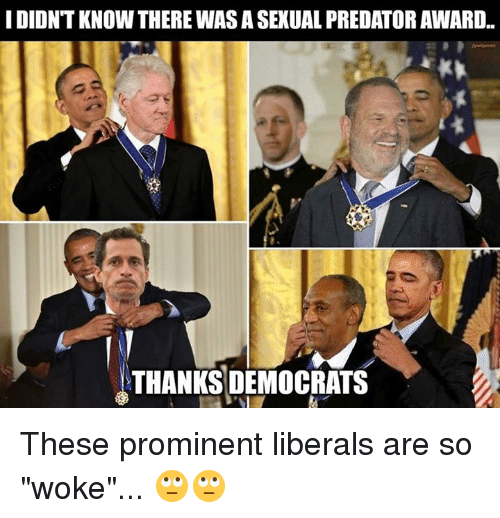 """Predator, Thanks, and Prominent: I DIDNT KNOW THERE WAS A SEXUAL PREDATOR AWARD..  THANKS DEMOCRATS These prominent liberals are so """"woke""""... 🙄🙄"""