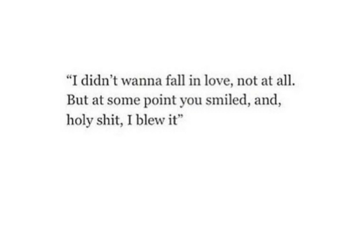 """Not At All: """"I didn't wanna fall in love, not at all.  But at some point you smiled, and,  holy shit, I blew it"""""""