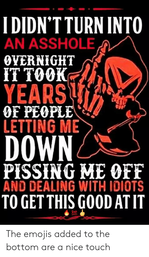 Dealing With Idiots: I DIDN'TTURN INTO  AN ASSHOLE  OVERNIGHT  IT TOOK  YEARS  OF PEOPLE  LETTING ME  DOWN  PISSING ME OFF  AND DEALING WITH IDIOTS  TO GETTHIS GOOD AT IT The emojis added to the bottom are a nice touch