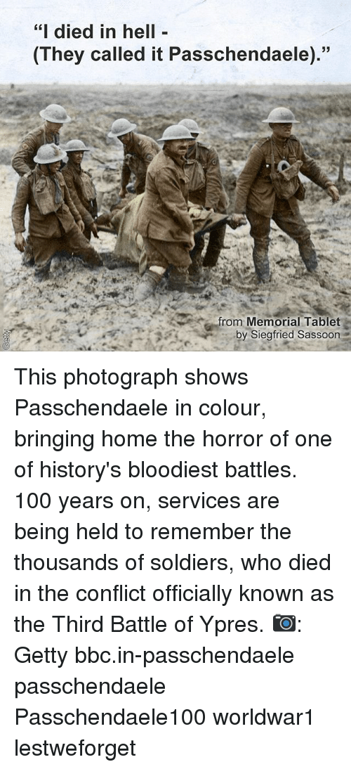 """Anaconda, Memes, and Soldiers: """"i died in hell  They called it Passchendaele).""""  53  rom Memorial Tablet  by Siegfried Sassoon This photograph shows Passchendaele in colour, bringing home the horror of one of history's bloodiest battles. 100 years on, services are being held to remember the thousands of soldiers, who died in the conflict officially known as the Third Battle of Ypres. 📷: Getty bbc.in-passchendaele passchendaele Passchendaele100 worldwar1 lestweforget"""