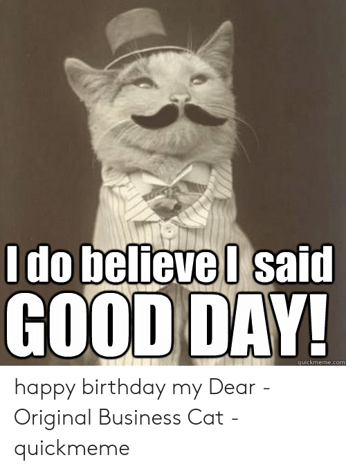 I Said Good Day Meme: I do believel said  GOOD DAY!  quickmeme.com happy birthday my Dear - Original Business Cat - quickmeme