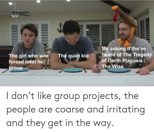 Group Projects: I don't like group projects, the people are coarse and irritating and they get in the way.